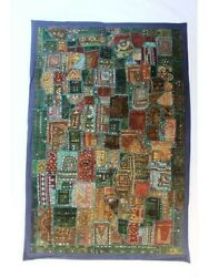 Kutchi Work Hippie Wall Tapestry Patchwork Hand Embroidery Bohemian Wall Decor