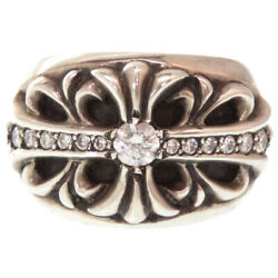 Authentic Chrome Hearts Genuine Diamond Floral Crossring Silver925 0210