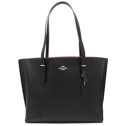 NWT COACH Mollie Tote Shopper Shoulder Zip Leather Black Red F1671 FREE SHP $156.00