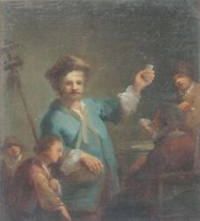 Original 17th/18th Century Oil-old Master/rembrandt Style-figures And Interior