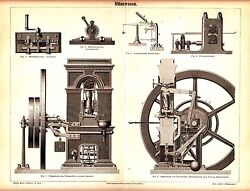 1876 Old Coin Coinage Machine Antique Engraving Print