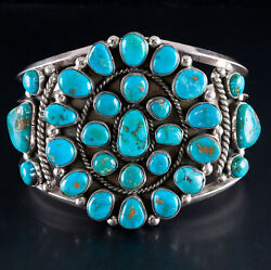 Vintage 1960and039s Sterling Silver Navajo Native American Turquoise Cuff Bracelet