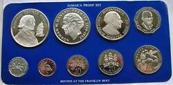 Jamaica 1977 Box Proof Set Of 9 Coins,with 2 Silver Coins,proof