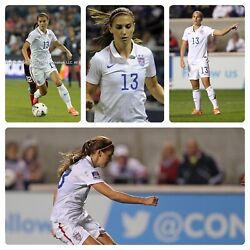Nike Uswnt Usa Womens Soccer National 2014 Home Player Issue 13 Morgan Jersey L