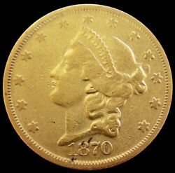 1870 S Gold Us 20 Liberty Head Double Eagle Coin Extremely Fine