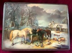 Fedoskino Signed Russian Lacquer Box - Village Life Winter Horses And Farm Animals