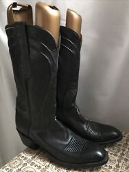 Lucchese Boots Men Black 9.5 D Goatskin Made In Usa Vintage
