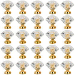 25 PACK Diamond Clear Small Dresser Knobs Drawer Pull Handle Cabinet Door TD $15.39
