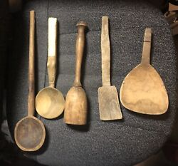 Lot Of 8 Antique Primitave Wooden Spoons And Nut Crackers