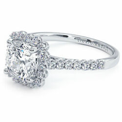 2.00ctw Cushion Cut Beaded Prong Halo Moissanite And Diamond Engagement Ring 18...