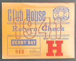 1941 Kentucky Derby Club House Ticket Churchill Downs Whirlaway Record Time Win