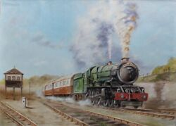 Original Oil Painting On Canvas 28 Andtimes 20in Train Technics