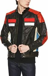 Diesel L Yuja Menand039s Leather Biker Jacket Size Small Very Rare