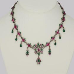 Victorian Pearl Pink And Green Paste Necklace Antique Austro Hungarian Necklace