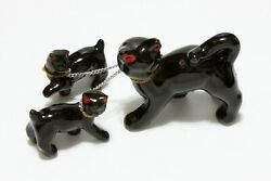 Vintage Redware Ceramic Figurines Black Cat amp; Kittens On Chain With Green Eyes