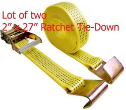 Lots Of Two 2 X 27ft Ratchet Tie Down Strap With Flat Hook 10,000lb Each