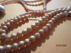 Antique Vintage Estate Jewelry 3 Pearl Necklaces As Is Where Is Parts Ect Craft