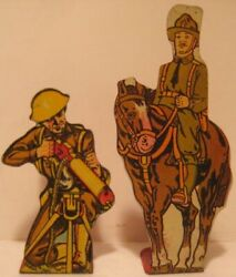 Old Marx Stamped Tin Soldiers Of Fortune Targets - Us Calvary + Machine Gun Man