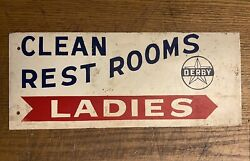Derby Gas Station Ladiesrest Room Double Sided Flange Painted Sign Wichita Ks