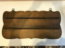 Vintage Souvenir Collector 50 Spoon Holder Wooden Display Wall Mounted Rack