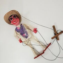 Mexican Marionette 14 Ceramic Face Hands Wood Straw Hat