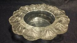 Lalique Art Glass Frosted To Clear French Crystal Wine Coaster Bowl Large