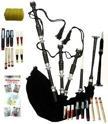 Highland Rosewood Bagpipe Full Silver Mounts Black Cover With Bag And Tutor Book