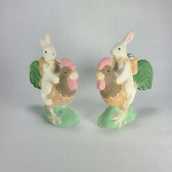 Chalkware Easter Bunny On Rooster Figurines Pair