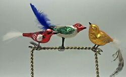 Vintage Bird Glass Feather Spun Tail Christmas Clip On Ornament Red Green Gold