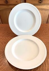 2 Crate And Barrel China Staccato White Dinner Plates Beaded Kathleen Willis