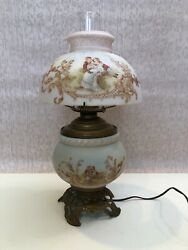 Vintage Gone With Wind Light Lamp, W/pink Lover Scene Milk Glass Lamp Shade, 20