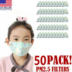 50 Pack Cotton Face Mask Washable For Children Bright Blue Mushroom Pattern