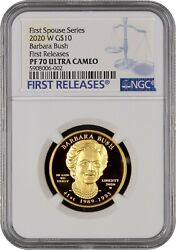 2020-w Barbara Bush First Spouse 10 Gold Ngc Pr70dcam First Releases-1st Spouse