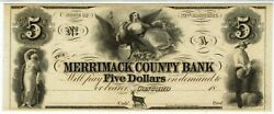 5 Merrimack County Bank New Hampshire. Gem Uncirculated. Scarce In High Grade.