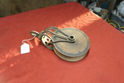 Vintage Metal And Wood Pulley Farm Barn Hay Trolley Hanging Tool Antique Tools Old
