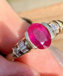 4150.00 Certified 14k Yellow Gold 1.7 Ct Natural Oval Ruby And Diamond Ring