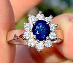 Estate 3000 18k White Gold 1.1 Ctw Natural Blue Sapphire And Diamond Ring