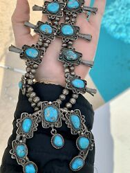 Rare Vintage 1940's Sterling Silver Squash Blossom Turquoise Native American