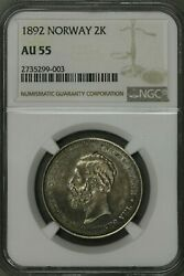 Norway 2 Kroner 1892 Ngc Au55 Top Pop Next Closest Is Vf Rare S182