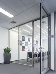 Cgp Office Partition System, Glass Aluminum Wall 11' X 9' W/door, Clear Anodized