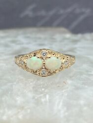 Ladies 9ct, Opal, Diamond Ring, Size O, Victorian Style, Engagement, October