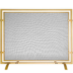 Fireplace Screen Sparkguard Single Panel Durable Frame Wrought Iron Gold 39 In.