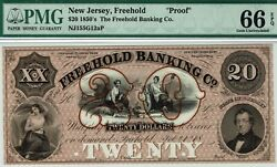 Proof 20 Freehold Banking Co., New Jersey. Pmg 66 Epq Gem Uncirculated.