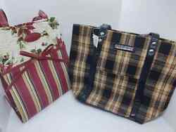 Longaberger Brown Plaid Purse Bag Small Tote And Christmas Plaid Red Green Lot