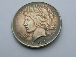 1923-d Peace Silver Dollar Blue Rainbow Toned-some Of The Best On A Peace 1-437