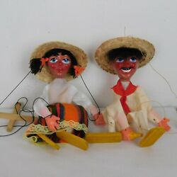 Pair Of Vintage Mexican Mexico Marionette Puppets Hand Made Bottle Sombrero Hats