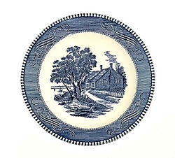 Currier And Ives Royal China Salad Plate Blue 7.25andrdquo Washingtonandrsquos Birthplace