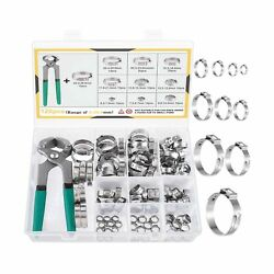 Miahart 120pcs Stainless Steel Single Ear Hose Clamps With Ear Clamp Pincer 1...