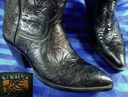 New/rare 5.5 Cabootsold Gloryhand Tooled Leather Womens Cowboy Boots Black