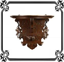 Large Antique Black Forest Hand Carved Wood Dog Wall Console